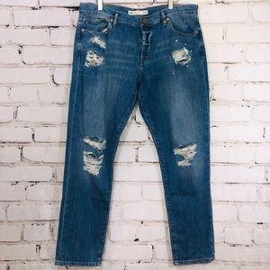 Asos men's distressed destroyed denim jeans 34